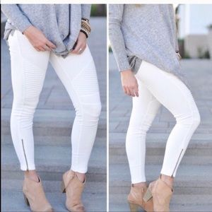 White Moto Pants with Zipper Details